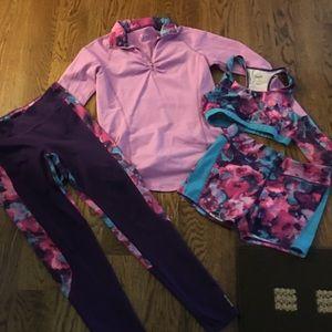 Reebok purple legging Set Sz 14-16